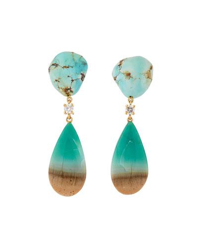 18k Bespoke 2-Tier Tribal Luxury Earrings w/ Kazakhstan Turquoise, Blue ...