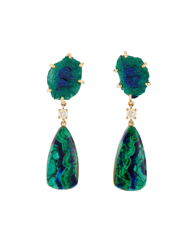 18k Bespoke 2-Tier One-of-a-Kind Luxury Earrings w/ Raw Malachite