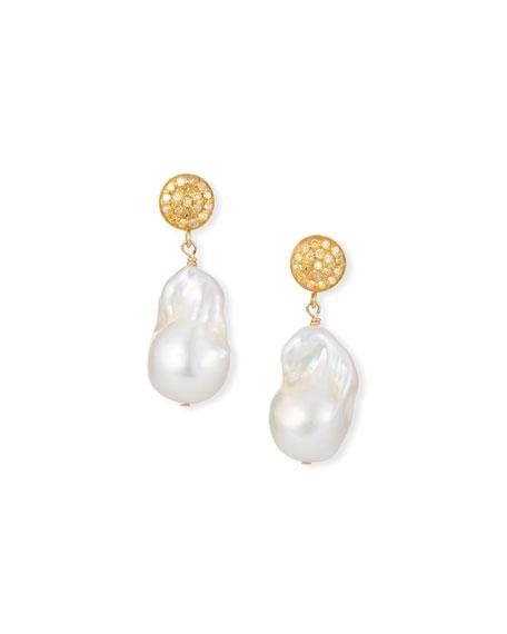Margo Morrison 18k Diamond-Post Baroque Pearl-Drop Earrings