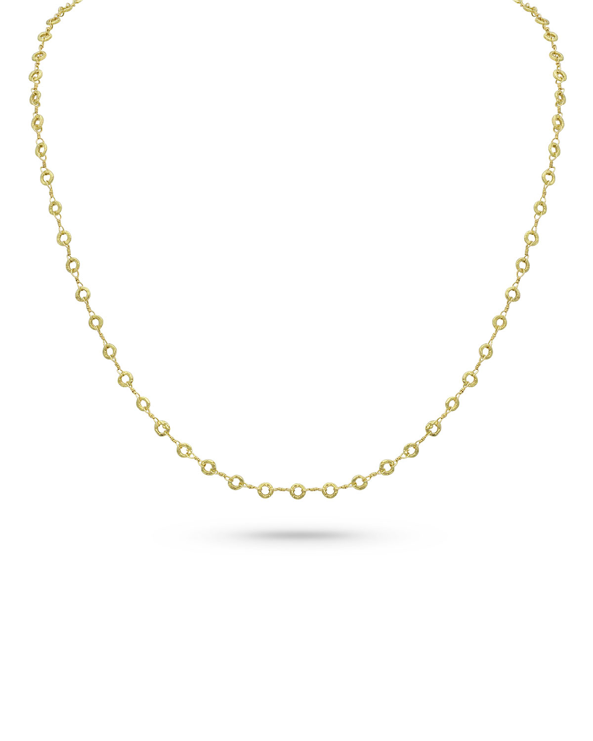 18k Yellow Gold Carved Ring Delicate Chain Necklace