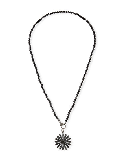 Sheryl Lowe Spinel & Black Diamond Daisy Necklace
