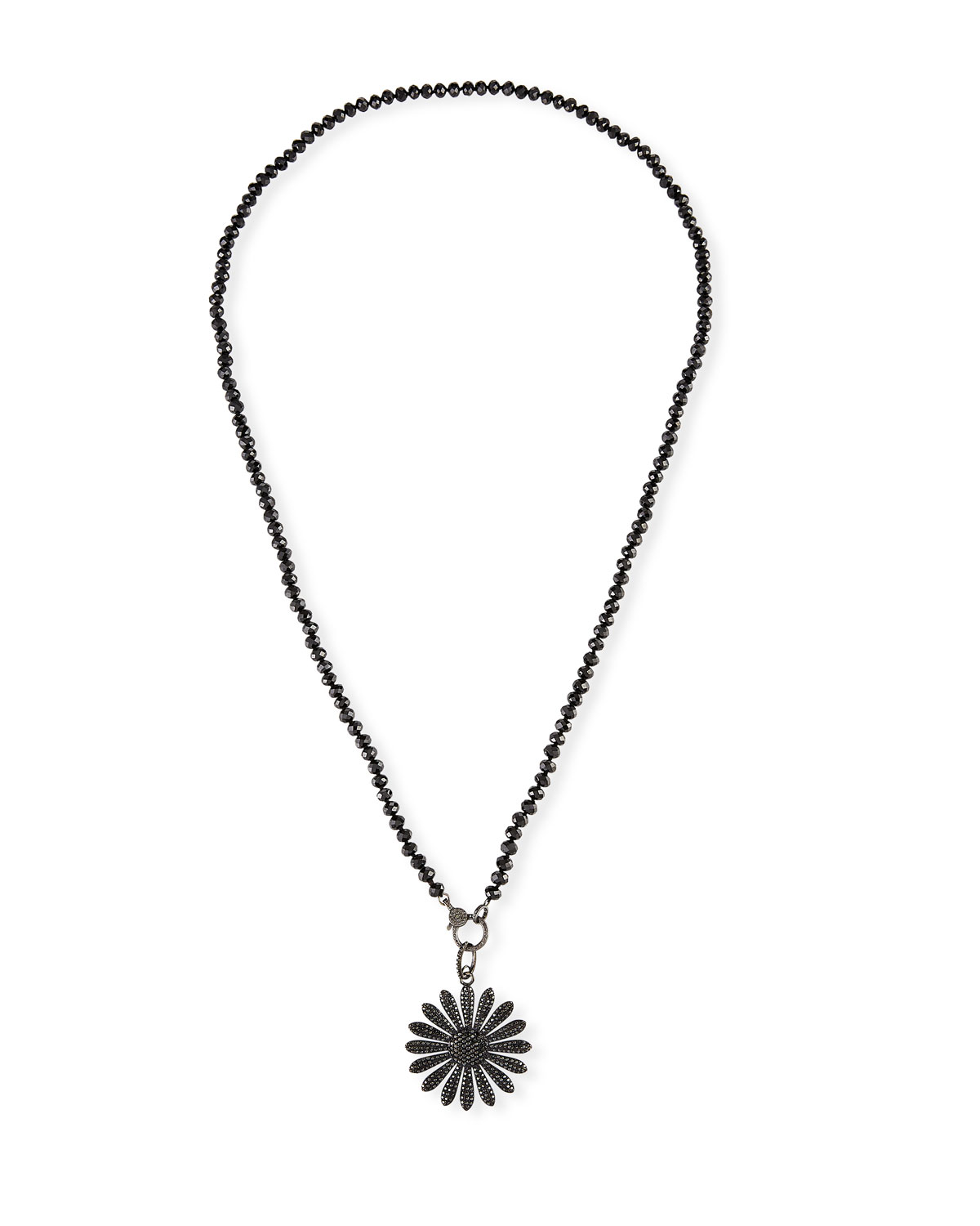 Sheryl Lowe black diamond daisy necklace. Sterling silver hardware and settings. Daisy pendant with black diamonds. Smooth semi-round black spinel. 6.08 total diamond carat weight. Lobster clasp. Approx. 42\