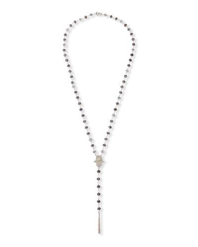 Diamond Hamsa Necklace w/ Quartz