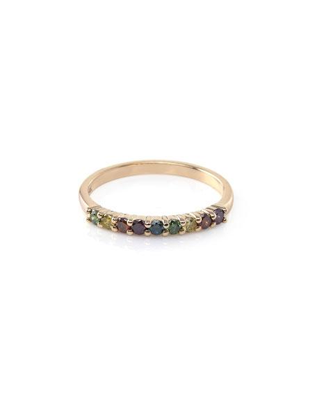 Stevie Wren 14k Gold Rainbow Colored Diamond Ring, Size 7
