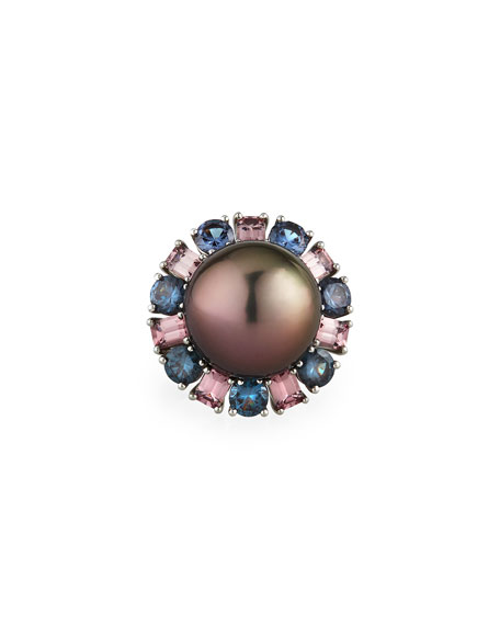 Assael Platinum Tahitian Pearl Garnet-Trim Ring, Size 6.5