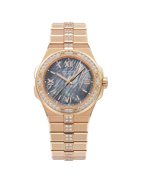 Chopard 36mm 18k Rose Gold Diamond Watch w/ Bracelet Strap, Gray