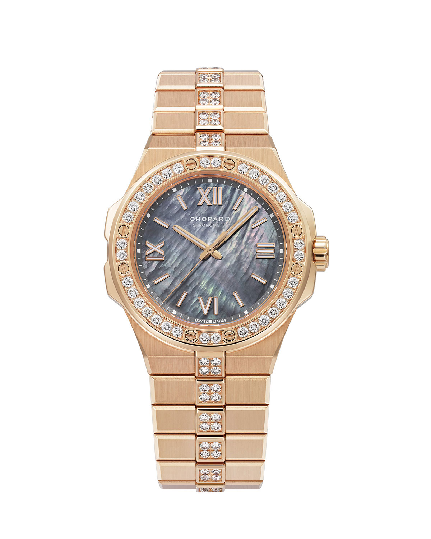 36mm 18k Rose Gold Diamond Watch w/ Bracelet Strap