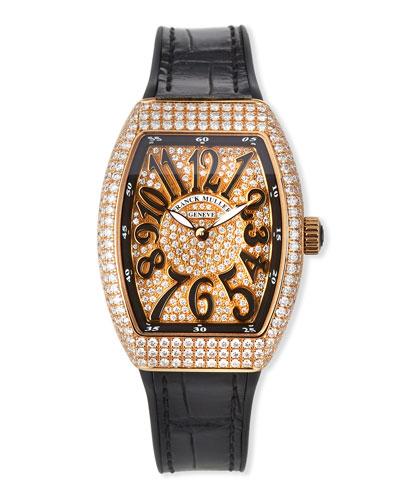 Vanguard All-Diamond Watch w/ Alligator Strap