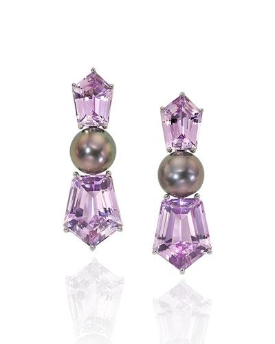 Platinum Pearl Kunzite Clip Earrings