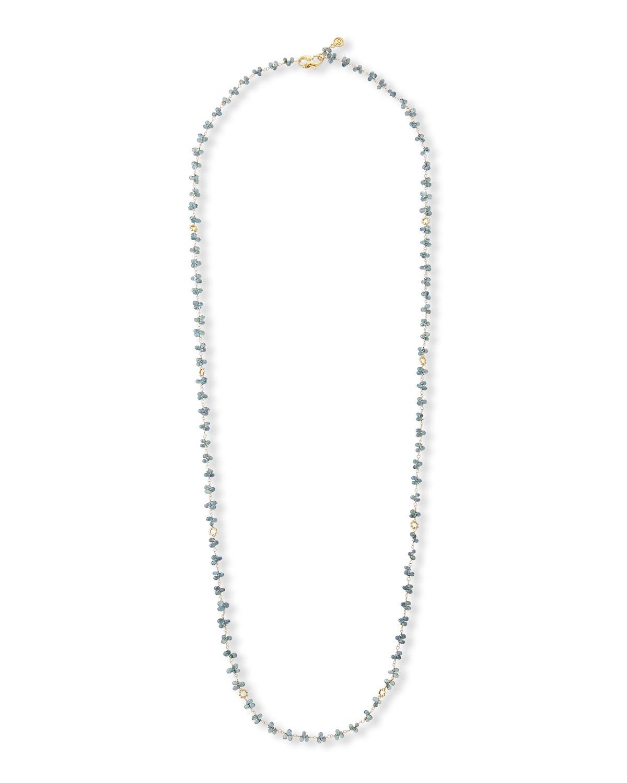 18k Green Sapphire Briolette & Mini-Link Necklace