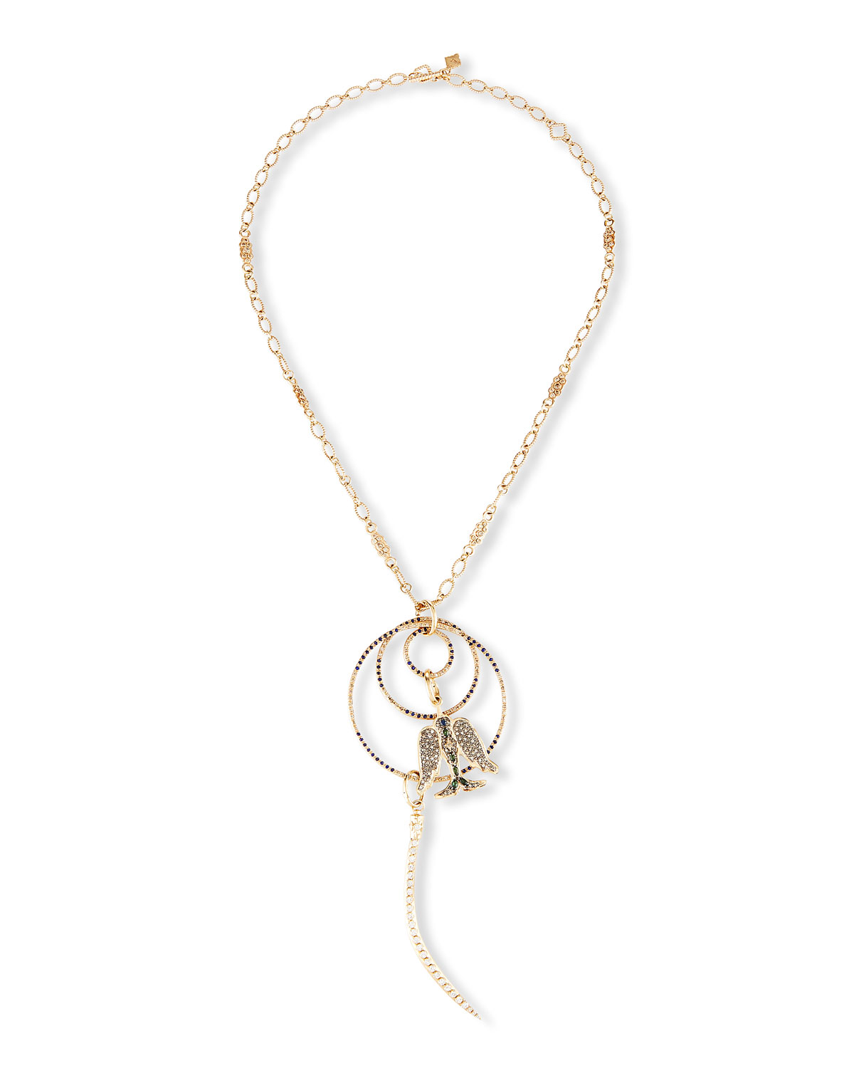 Armenta  CUENTO 18K ROSE GOLD DOVE & HORN MULTI-RING NECKLACE