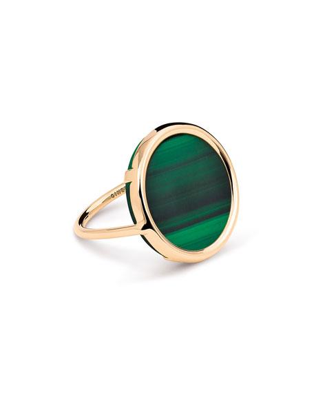 GINETTE NY Ever 18k Rose Gold Malachite Disc Ring, Size 6