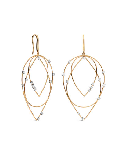 Medium 3-Tier Diamond Hoop-Drop Earrings