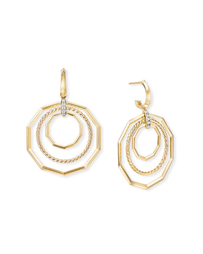 Stax 18k Yellow Gold Extra-Large Drop Earrings w/ Diamonds