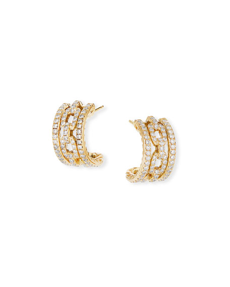 David Yurman Stax 18k Yellow Gold Diamond Huggie Hoop Earrings