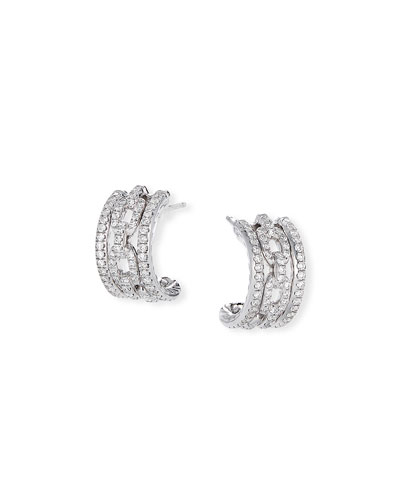 Stax 18k White Gold Diamond Huggie Hoop Earrings