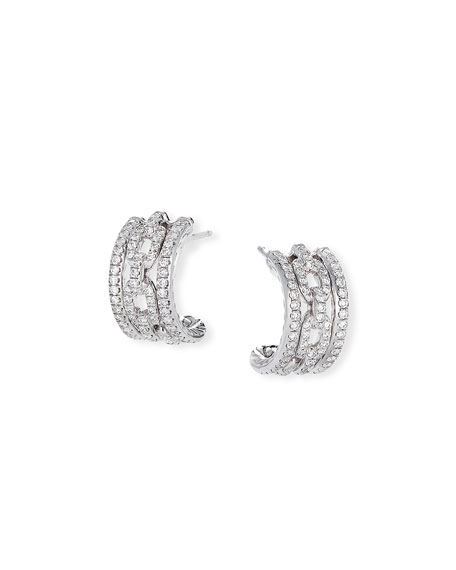 David Yurman Stax 18k White Gold Diamond Huggie Hoop Earrings