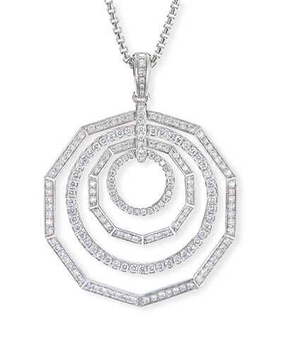 Stax 18k White Gold Diamond 4-Ring Pendant Necklace
