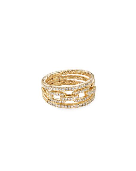 David Yurman Stax 18k Yellow Gold Diamond 3-Row Ring, Size 5