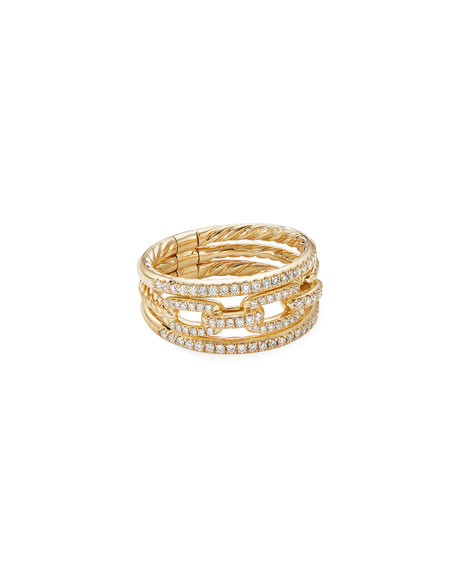 David Yurman Stax 18k Yellow Gold Diamond 3-Row Ring, Size 7