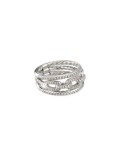 David Yurman Stax 18k White Gold Diamond 3-Row Ring, Size 5