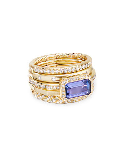 Stax Fine Cable 18k Ring w/ Diamonds & Tanzanite, Size 7