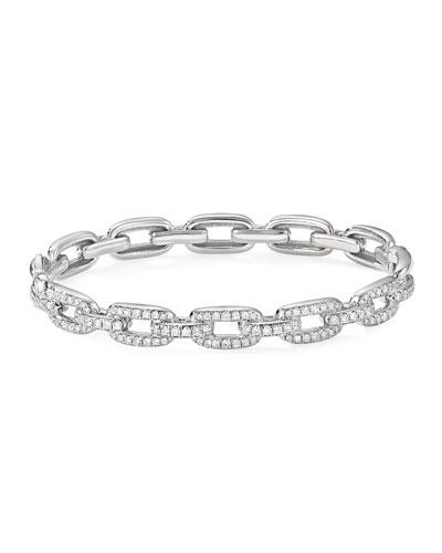 Stax 18k White Gold Diamond Link Bracelet, Size M