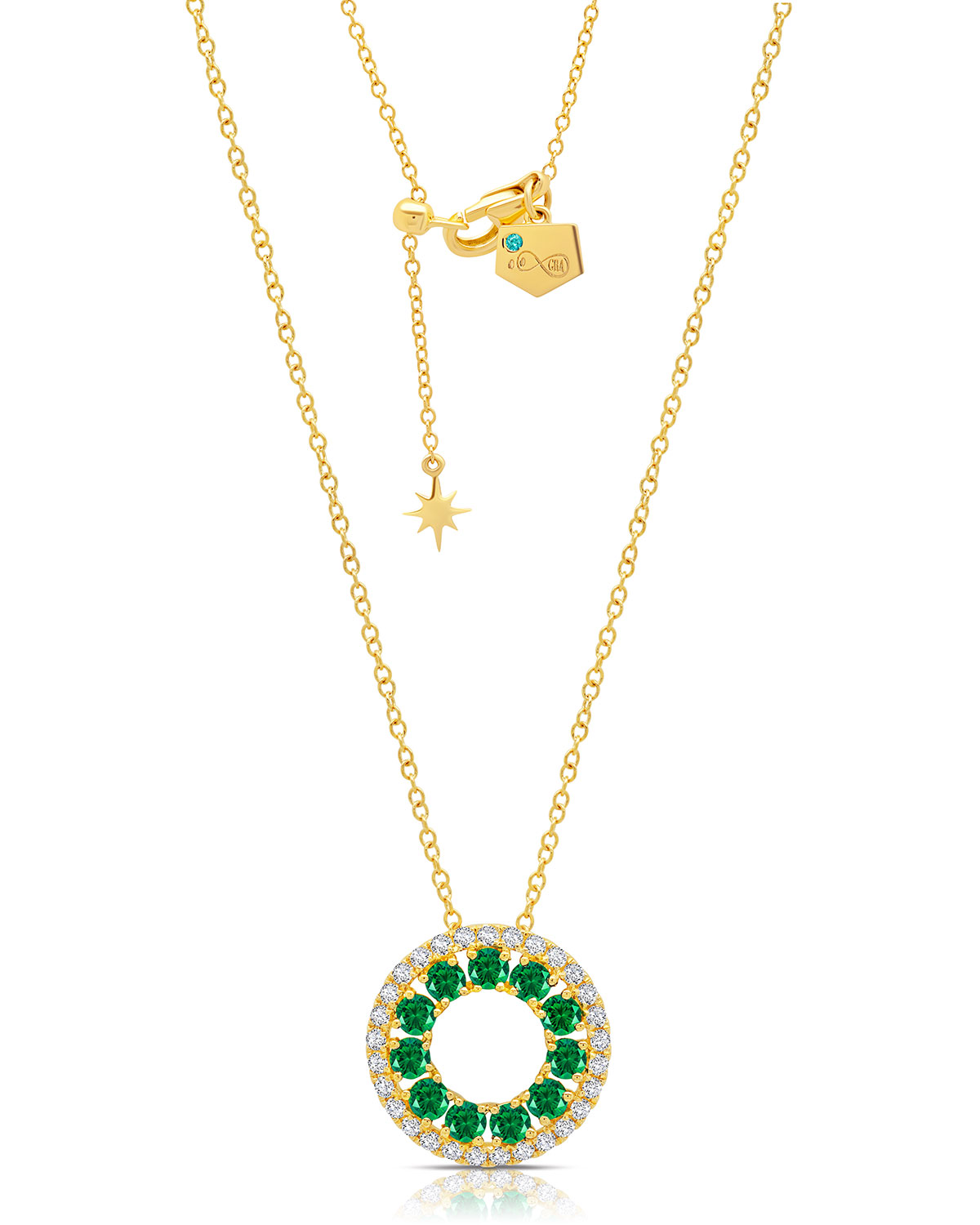 18k Emerald and Diamond 3-Sided Circle Necklace
