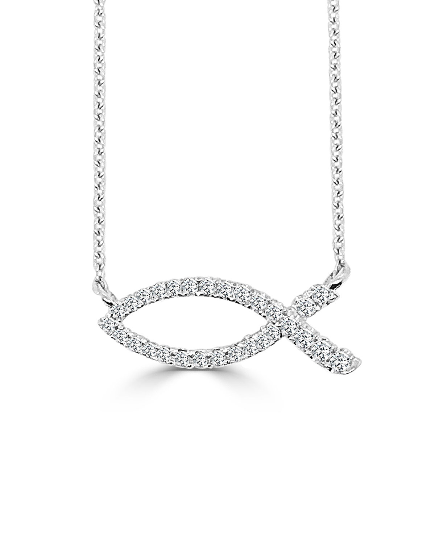 18k White Gold Ichthus Fish Diamond Necklace
