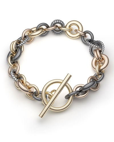 18k Multi-Chain Bracelet w/ Diamonds, 8