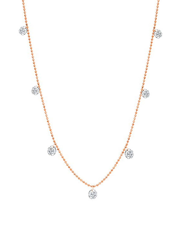 18k Rose Gold Floating Diamond Necklace