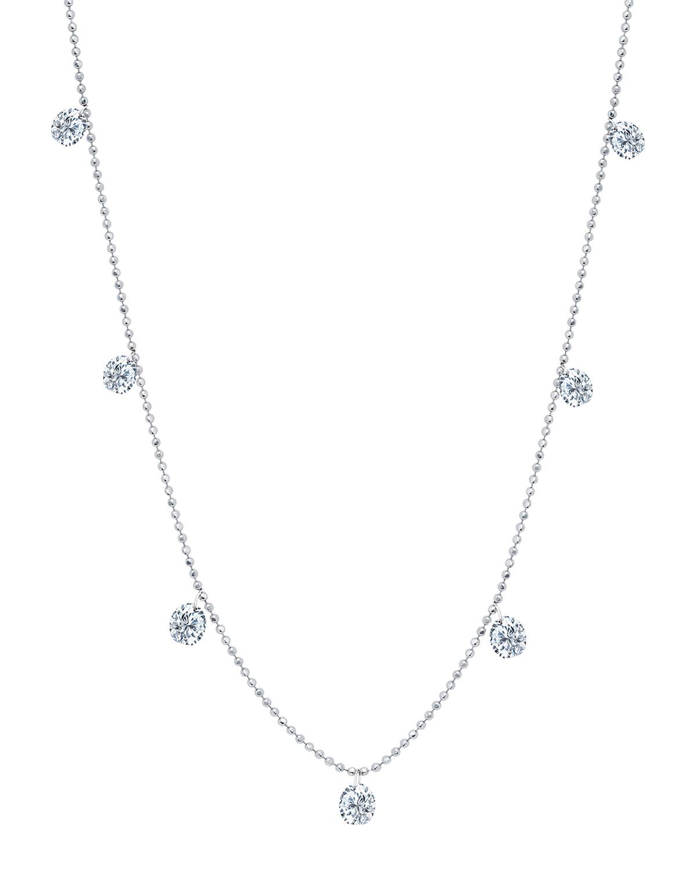 18k White Gold Floating Diamond Necklace