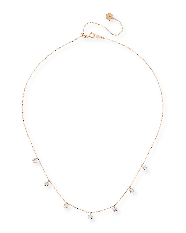 18k Rose Gold 7-Diamond Shaker Necklace