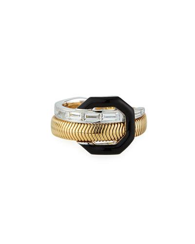 Two-Tone 18k Black Enamel & Diamond Feelings Ring, Size 7