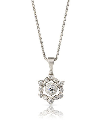 18k White Gold Mini Ghirlanda Pendant Necklace w/ Diamonds