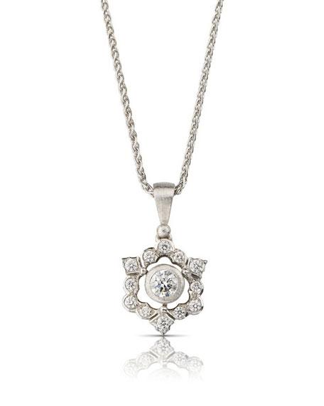 Buccellati 18k White Gold Mini Ghirlanda Pendant Necklace w/ Diamonds