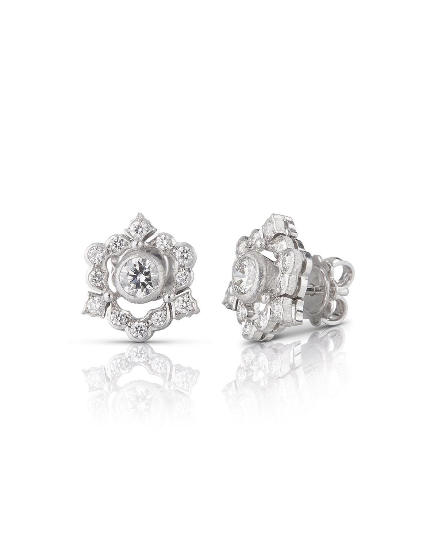 18k White Gold Mini Ghirlanda Button Earrings w/ Diamonds