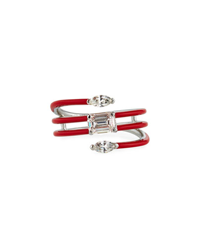 18k White Gold Red Ceramic Diamond Coiled Ring, Size 6.5