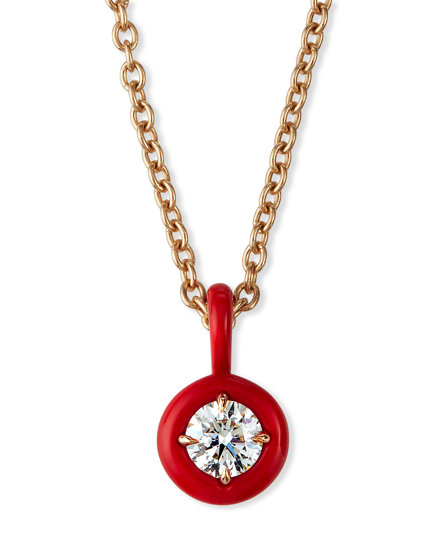 18k Pink Gold Red Ceramic Diamond Necklace