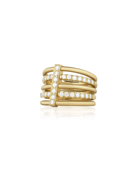 Carelle 18k Moderne 3-Plain and 2-Pave Ring with Diamonds