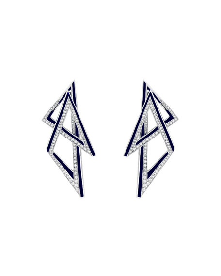 Stephen Webster 18K Vertigo Infinity Hoop Earrings w/ Enamel & Diamonds