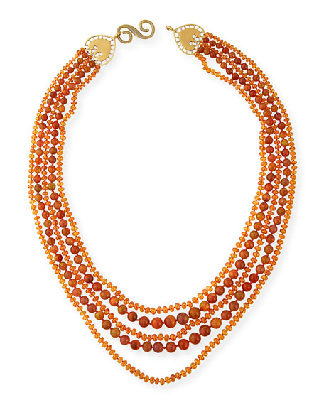 Splendid Multi-Strand Ethiopian Opal & Mandarin Garnet Necklace