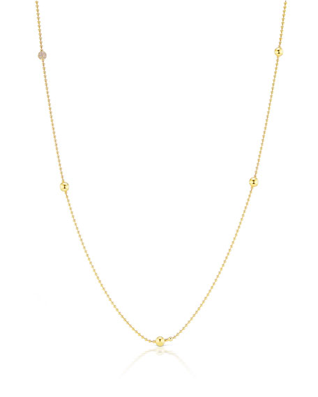 "Maria Canale 18k Ball-Chain Necklace w/ Diamond Ball, 36""L"
