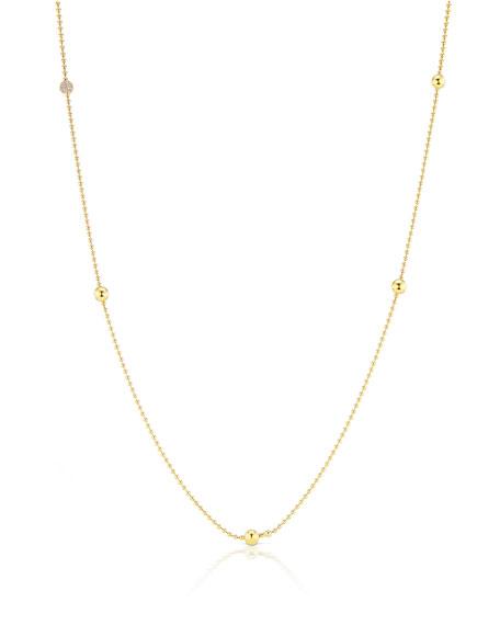 "Maria Canale 18k Ball-Chain Necklace w/ Diamond Ball, 36""L"