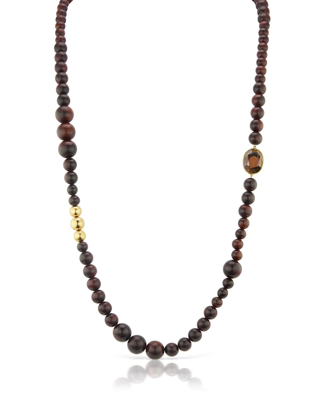 Long 18k Wood-Bead Smoky Topaz Necklace