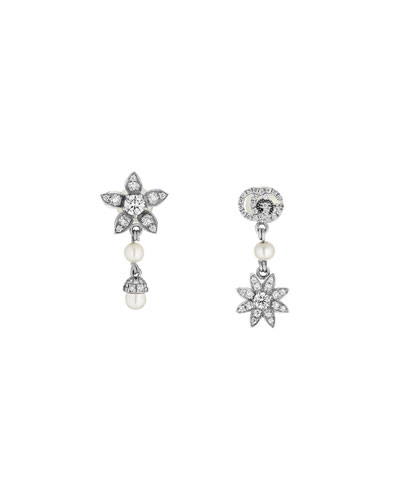 18k White Gold Flora Diamond & Pearl Earrings
