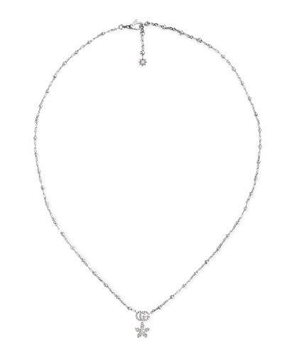 18k White Gold Diamond Flower Necklace w/ Micro Pearls
