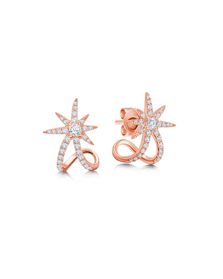 Graziela Gems 18k Rose Gold Diamond Starburst Ear Cuffs