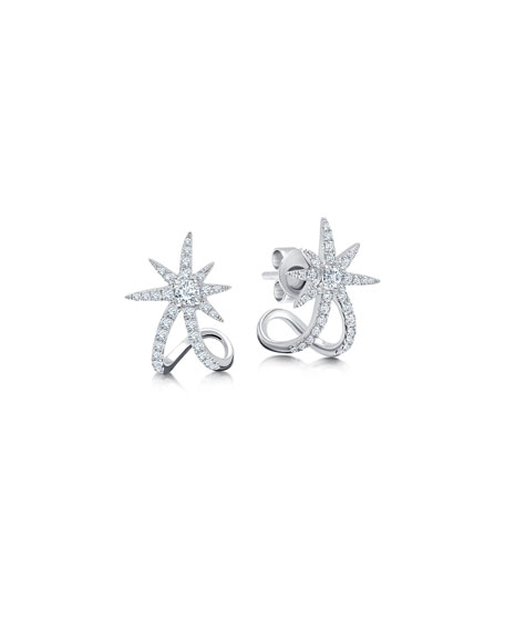 Graziela Gems 18k White Gold Diamond Starburst Ear Cuffs
