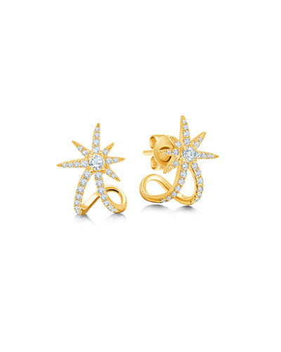 18k Yellow Gold Diamond Starburst Ear Cuffs